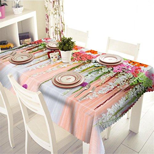 Polyester Nappe 3D fleurs roses étanche à la poussière couvercle de table décoration de cuisine , 4 , o