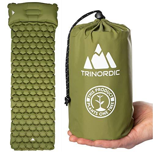 TRINORDIC Camping Isomatte, Luftmatratze Ultralight Aufblasbare Luftmatratze mit integrierten Kissen Faltbare, superleichte, Ein-Mann-Luftmatratze Geeignet für Outdoor-Camping