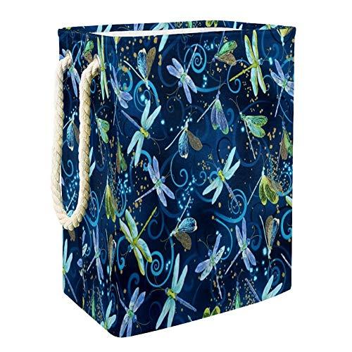 Nobrand Wäschekorb mit tanzenden Libellen für Wäschekorb, integriertes Futter mit abnehmbaren Klammern, faltbarer Wäschesammler für Spielzeug und Kleidung