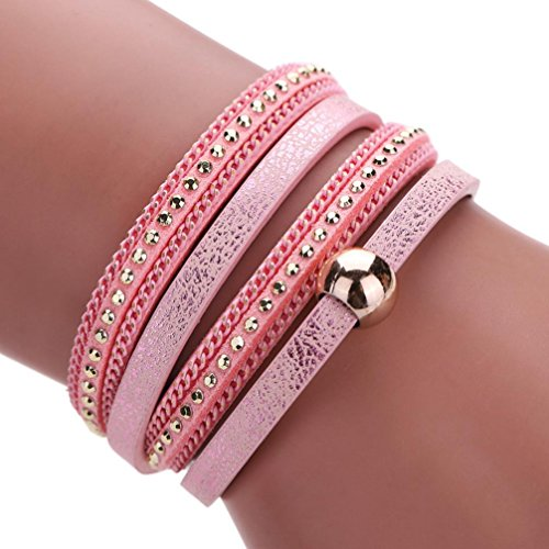 Mingfa.y Vintage Bohemia Multilayer Leather Charm Bracelet, Handmade Braided Wrap Cuff Magnetic Clasp for Women (Pink)