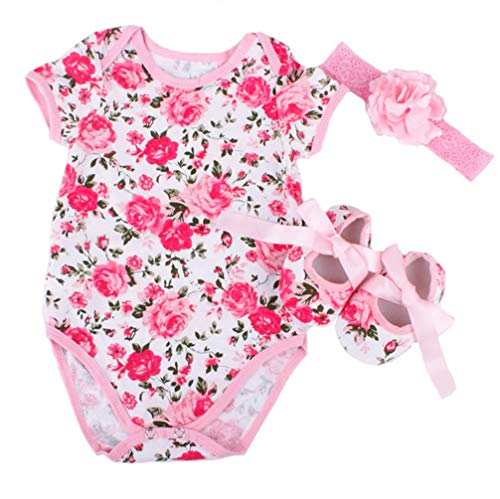 Een set van 22 inch Kinderen Veranderende Poppenkleertjes Tutu Jumpsuit roze roos Patroon Klimpak