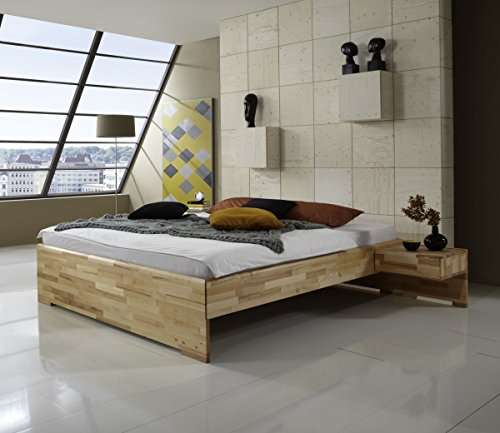 Dreams4Home Massivholzbett'Marseille', Bett, Massivholz, Kernbuche, natur, 140, 160, 180, 200x200 cm, Doppelbett, Liegefläche:180x200 cm;Nachtkonsole:ohne Nachtkonsolen