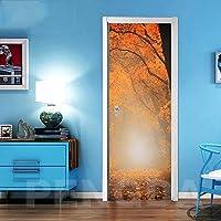 ZWYCEX ドアステッカー ステッカーオンザドア自己接着壁紙DIYのメープルの葉ピクチャーウォールアートの家の装飾の壁画ワードローブの改修デカールを印刷 (Sticker Size : 77x200cm)