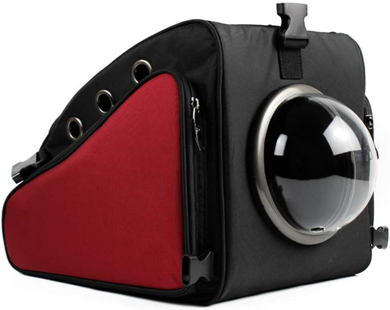 Pet Backpack Lightweight Breathable Space Capsule Bubble Pet Carrier Waterproof Travel Portable Premium Shoulder Carry Bag (43cmX33cmX34cm) Red