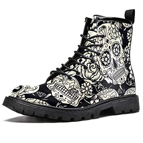 LORVIES - Calavera de azúcar con adorno floral y floral, botas altas para hombre, zapatos con cordones de piel, (multicolor), 44 EU