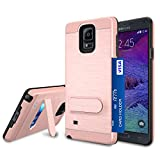 Jeylly Galaxy Note 4 Case, Note 4 Card Holder Cover, Rose