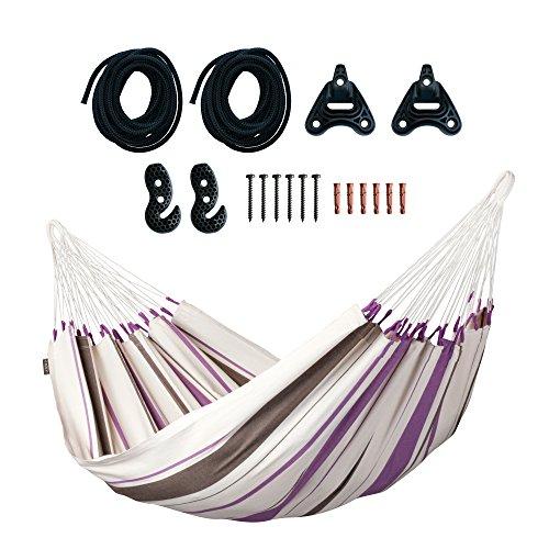 LA SIESTA Caribeña Purple - Klassische Einzel-Hängematte aus Baumwolle inkl. Befestigungsset