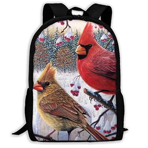 huatongxin Manta Winter Red Birds Mochila de moda para hombre y mujer Mochila de lona de moda con estampado 3D Casual Mochila de hombro informal