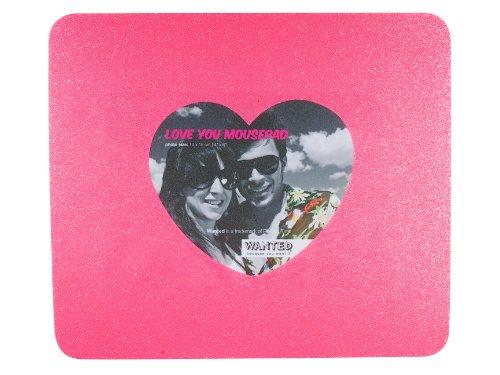 WANTED WA0610 Mauspad mit Bilderrahmen, Herzform, rosa