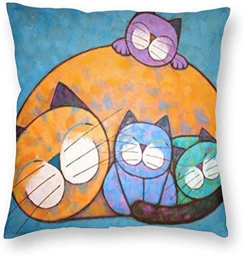 BONRI Katze mit Kätzchen Malen Kissenbezug Einzigartige Kissenbezug Kreative Kissen Fallbezüge mit Reißverschluss Home Dekorativer Druck Kissenbezug für Sofa Couch ,(18'x18' / 45x45cm