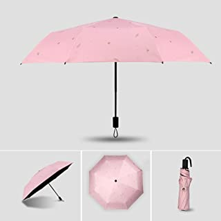 XingKunshop Umbrella Ultralight Sun Protection UV Umbrella, Ladies Folding Easy to Carry Windproof Umbrella Summer,Strong Windproof,Outdoor (Color : Pink)