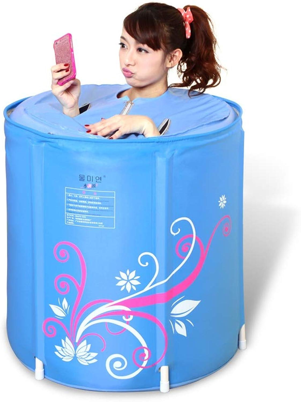 HCJCQYG GUgoldNG Inflatable bathtub, nylon Pearl cotton Thickening fold Bath barrel adult Free inflatable Bathtub Bath barrel Plastic folding bath Thick warm Bathtub (Size   70  68cm)
