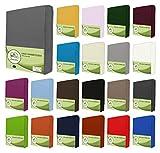 leevitex® Jersey Spannbettlaken, Spannbetttuch 100% Baumwolle in vielen Größen und Farben MARKENQUALITÄT ÖKOTEX Standard 100 | 180 x 200 cm - 200 x 200 cm - Grau
