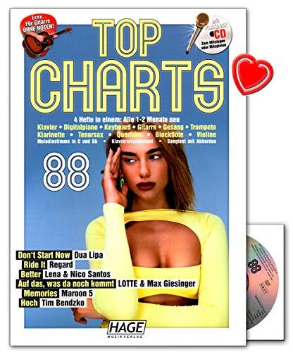 Top Charts 88 mit CD - die aktuellsten Hits der erfolgreichsten Stars und das Beste aus den Charts! - Songbook für Klavier, Keyboard, Gitarre, Gesang, uvm mit bunter herzförmiger Notenklammer