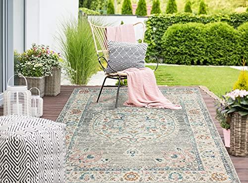 the carpet Palma In- & Outdoor Teppich Flachgewebe, Robust, Modernes Design, Vintage Optik, Used Look, Superflach, UV- und Witterungsbeständig, Orient Muster, Grau-Orient, 160 x 230 cm