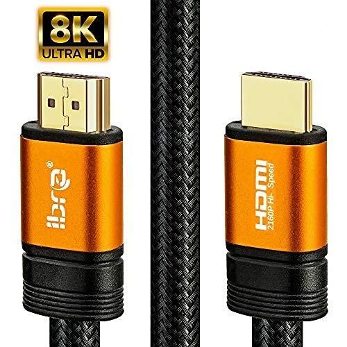Cavo HDMI arancione IBRA 2.1 Cavo 8K ultra veloce a 48 Gbps   Supporta 8K @ 60HZ, 4K @ 120HZ, 4320p, compatibile con Fire TV, supporto 3D, funzione Ethernet, 8K UHD, 3D-Xbox PS3 PS4 PC ecc- 3M