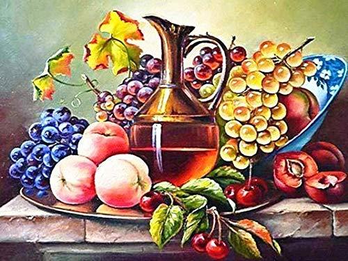 Kit de pintura de diamante 5D con diseño de frutas frescas, para cocina, comedor, restaurante, decoración de pared, 40 x 30 cm