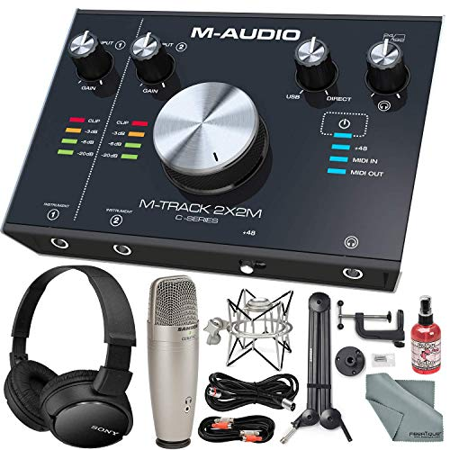 "M-Audio M-Track 2X2M USB Audio Interface with MIDI I/O and Platinum Studio Bundle w/Studio Condenser Mic + Mixing Headphones + 28"" Mic Boom Arm+ Shock Mount + More"