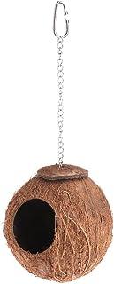Lazder Bird Parrot Nest Natural Coconut Shell Cadena Colgante Jaula Juguetes Swing Casa Finch