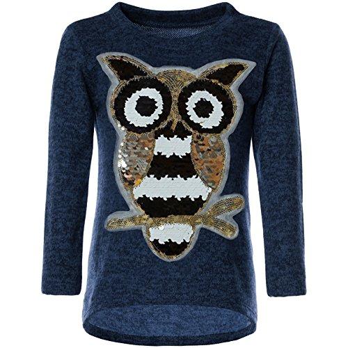 BEZLIT BEZLIT Mädchen Pullover Pulli Wende-Pailletten Sweatshirt Vogel Motiv 21601 Blau Größe 104