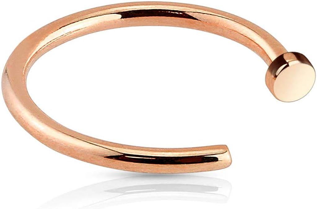 Rose Gold Flat Disc Nose Hoop 316L Surgical Steel Ring