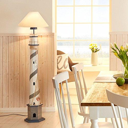 miaVILLA Stehleuchte Lighthouse - Leuchtturm Lampe - Stoffschirm - Weiß - Höhe ca. 152 cm