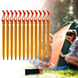 Rovtop 12Pcs Camping Tent Stakes Pegs 18cm Aluminium Alloy with Reflective Rope