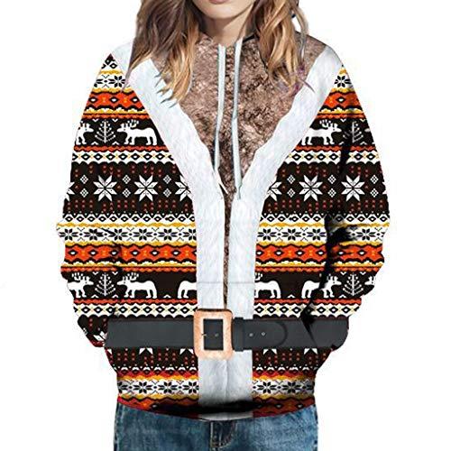 PPangUDing Weihnachtenpullover Sweatshirt Damen Persönlichkeit Langarm Lustiges Muster Printed Mit Kapuze Outwear Täglichen Freizeit Slim Fit Weihnachtspulli Basic Bluse Tops