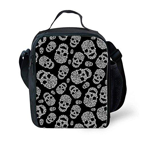 Nopersonality Sac à dos et boîte à lunch Pack Lot de 2 pièces pour l'école élémentaire enfants, Polyester, Skull-6, S