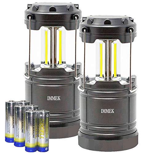 IMMEK Lámpara Camping COB LED (2Pack) Plegable con Imanes y Gancho, Linterna Portátil a Pilas para Aficionados de Pesca, Montaña y Otros Actividades al Aire Libre - Incluye Pilas