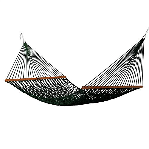Original Pawleys Island 14DCG Deluxe Green Duracord Rope Hammock with Free Extension Chains & Tree Hooks, Handcrafted in The USA, Accommodates 2 People, 450 LB Weight Capacity, 13 ft. x 60 in.