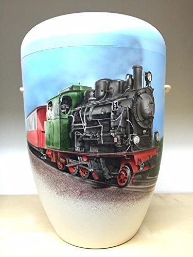 The Coffin Company Urne für Asche, biologisch abbaubar, Erwachsenengröße, Transport-Design, von Steam Train Lokomotive