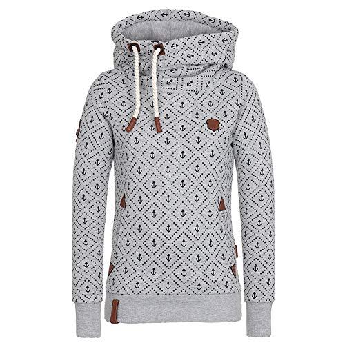 CHIYEEE Damen Lange Ärmel Hoodie Frauen Kapuzenpullover Pullover mit Kapuze Cross Over Kragen und Fleece Innenseite Grau XXL