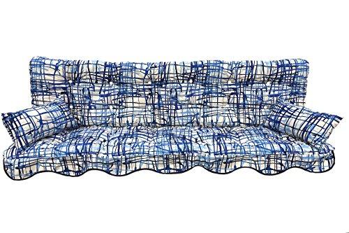 Polsterauflage Hollywoodschaukelauflage Modell 937- wunderschönes Modernes Design in blau gemustert (Hollywoodschaukelauflage 180x50 cm)