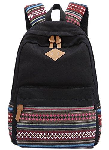 Mochila con diseño étnico para chicas de Panegy, para clase, tiempo libre, deportes de exterior o senderismo, color a elegir, color Negro , tamaño Tamaño libre