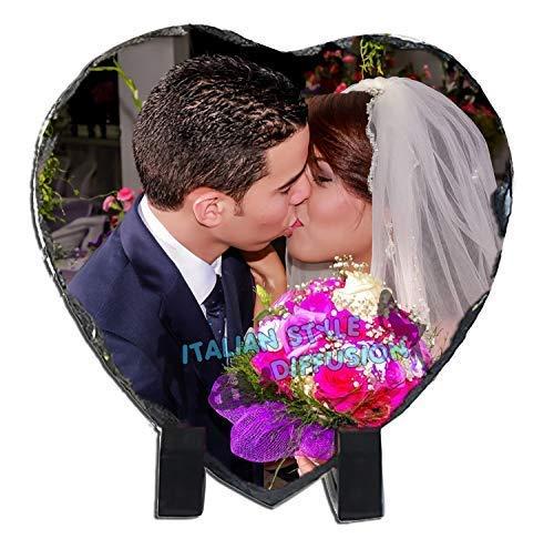 Generico Bonboniere Druck auf Schiefer Personalisierte Herz mit Foto Metaphorik Text Rock Foto für Hochzeit Taufe Bestätigung Kommunion Italian Style Diffusion