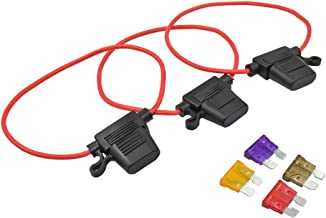 3 Pack -12V Water-resistant Add-A-Circuit Blade Type Inline Fuse holder with Cap16 Gauge (Larger)