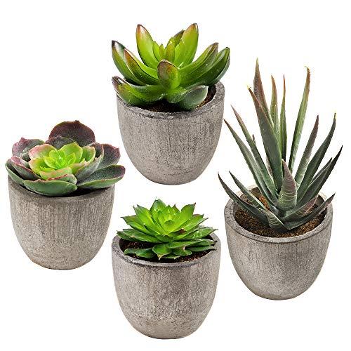 CDWERD 4 Stücke Künstliche Sukkulenten Pflanzen kunstpflanze mit Töpfen Tischdeko Balkon Badezimmer Dekoration