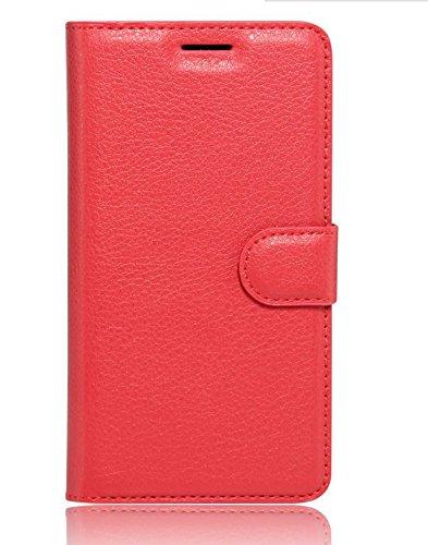 Tuanhui Schutzhülle Meizu MX6 Hülle PU Lederschale Meizu MX6 Smartphone, rot.