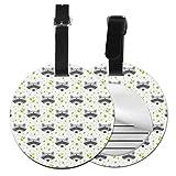Lindo mapache personalizado piel para maleta de lujo, accesorios de viaje, etiquetas redondas para equipaje Negro Negro 2 PC