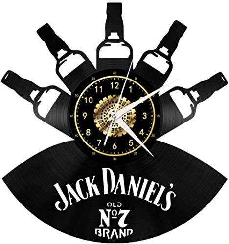 ZZLLL Botella de Vino Reloj de Pared de Vinilo Creativo Adornos de CD para el hogar Moderno Decoraciones Retro para Sala Hechos a Mano 12 Pulgadas