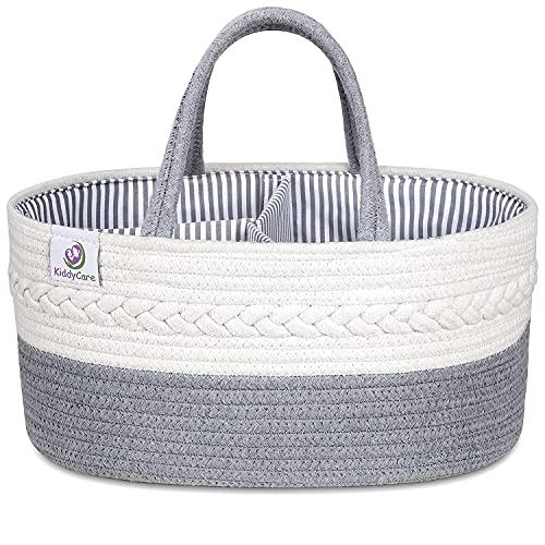 Product Image of the KiddyCare Baby Diaper Caddy Organizer - Stylish Rope Nursery Storage Bin 100%...