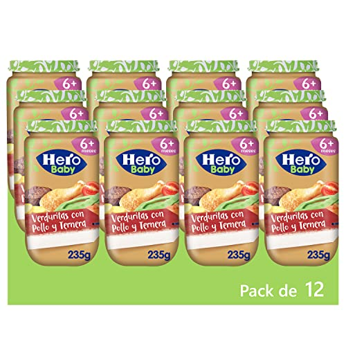 Hero Baby Tarritos de Verduritas con Pollo y Ternera -Para Bebés a Partir de los 6 Meses - Pack de 12 x 235 g