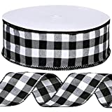 Winlyn 50 Yards Black and White Buffalo Check Plaid Wired Ribbon Gingham Ribbon 2.5' Wide for Christmas Tree Wreath Bows Festive Farmhouse Decoration Gift Wrapping Crafts Floral Arrangement