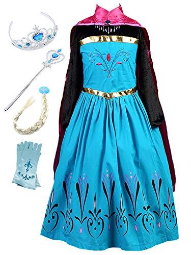 Monissy Prinzessin Kostüm Mädchen Eiskönigin ELSA Kostüm Anna Kleid mit Umhang Märchen Cosplay Kostüm Kinder Eisprinzessin Karneval Kostüm Weihnachten Party Kleid Fasching Blau Schwarz Rosa 100-150