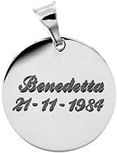 Ciondolo personalizzato tondo con incisione gratuita, in argento 925.