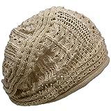 (ディグズハット)DIGZHAT サマーコットンデザイン編みニット帽 薄手 メンズ レディース ニットキャップ 帽子 (ライトベージュ)