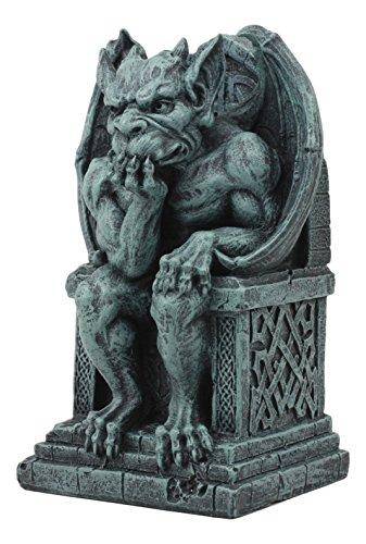 Ebros Stoic Gothic Notre Dame Thinker Gargoyle Statue 7.25' Tall Le Penseur Gargoyle Sitting On Celtic Throne Collectible Figurine