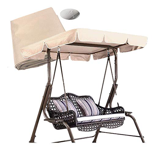 skyfiree Patio Swing Canopy Replacement Cover Waterproof 600D Polyester  2 Years Warranty  Canopy Top Cover Replacement Canopy UV Block Garden Outdoor Porch Patio Swing Beige Beige 55x47x7 inch