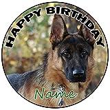 AK Giftshop Decoración para tarta de cumpleaños de perro alsaciano personalizable, redonda, 20 cm, cualquier edad y nombre